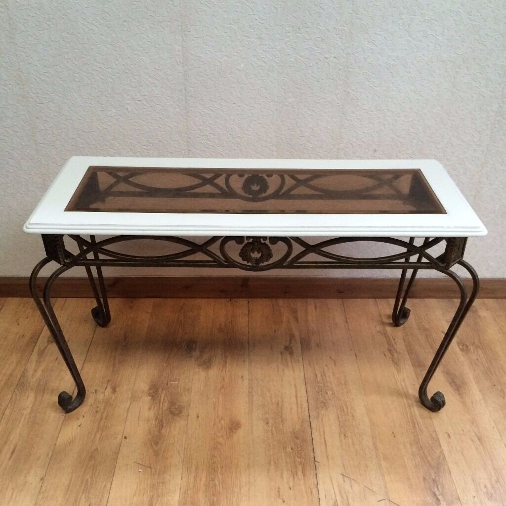 Shabby Chic Hall Tablein ManchesterGumtree - Shabby Chic Wrought Iron Hall Console Table A beautiful shabby chic & wrought iron console hall table its in good condition some small marks on it here and there still looks great. Dimensions Length 122 cm Height 69 cm Depth 48 cm