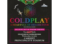 4x Coldplay pitch standing tickets, Principality Stadium Cardiff, Tuesday 11th July 2017