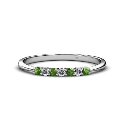 Green Garnet and Diamond Stone Wedding Band 0.35 Carat tw in 14K Gold JP:15602](Green And Gold Wedding)