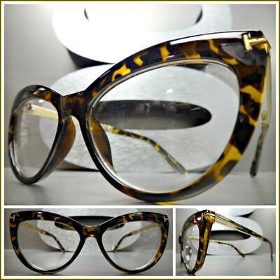 Classy Elegant RETRO Cat Eye Style Clear Lens EYE GLASSES Tortoise & Gold (Gold Cat Eye Glasses)