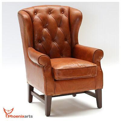 Chesterfield Vintage Echtleder Ohrensessel Ledersessel Design Antik Sessel 546
