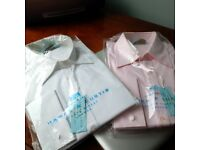 2 NEW Hawes & Curtis Women's Classic Shirts, Size 18, w/TAGS-UNOPENED Packages - Pink and White