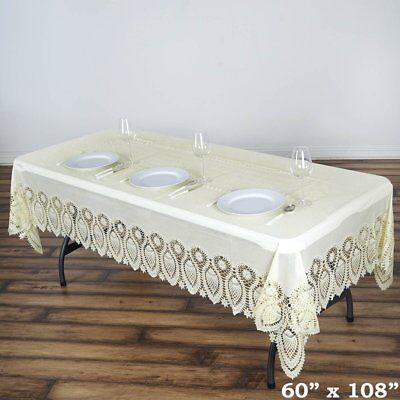 """Ivory Crochet Lace Plastic 60x108"""" Rectangle TABLECLOTHS Wed"""