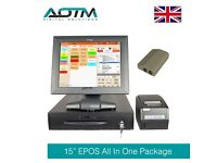 """Complete 15"""" Touch Screen EPOS POS Cash Till EPOS Software Printer Food Delivery (E106-G15PKT3)"""