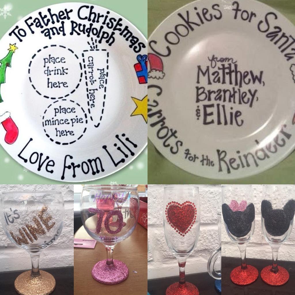 Personalised Santa father xmas plates