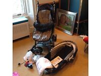 Jane Pram, Stroller, Car Seat ( upright and lie flat position) including matching cosy toes