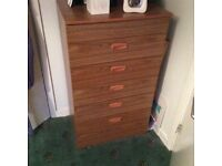 Bedroom furniture set including 2 double wardrobes, central dresser and 5 draw Chester draws
