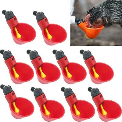 10X Chicken Water Drinker Cups Poultry Coop Drinking Plastic Bowl Automatic Farm