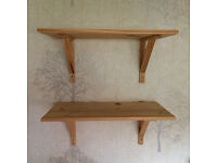 5 x Large Pine Shelves With Pine Brackets - 59 cms length + 30 cms width