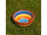 NEW, Truly Handmade. Ceramic. Cheerful BOWL, Salad/Rice/Soup/Cereal, Blue Rainbow, W15XH 7,5 cm !