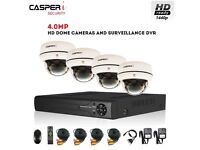 CASPERi In/Outdoor CCTV Survelliance System with 4.0MP 4CH DVR and 4 Dome Cameras