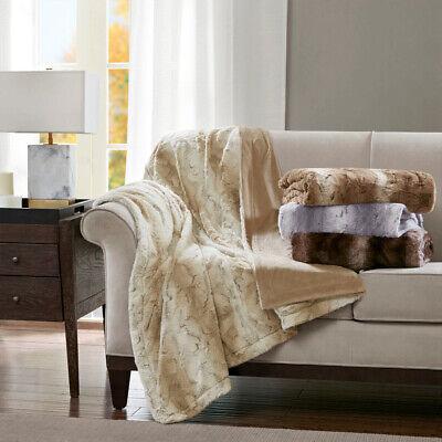 Silky Soft Faux Grey Blush Brown Tan Sand Chinchilla Fur Sofa Blanket Throw New ()