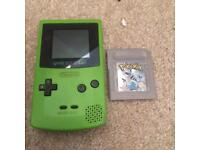 Green Gameboy color and Pokemon silver
