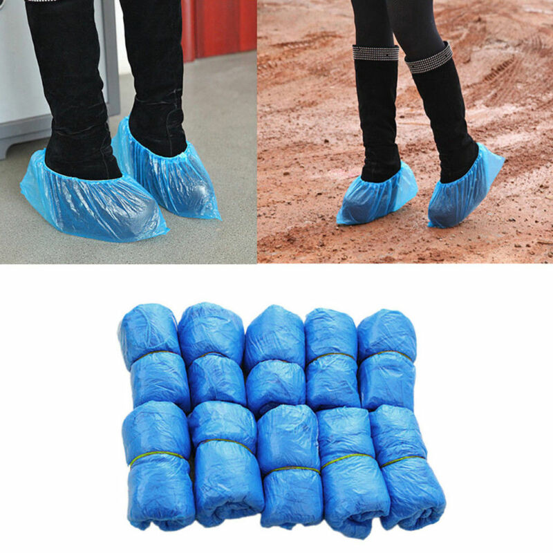 50 X Disposable BLUE Plastic Over Shoes / Shoe Boot Covers Carpet Protectors
