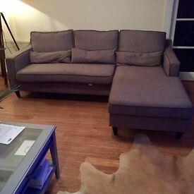Dwell 3 seater grey reversible corner (chaise) sofa