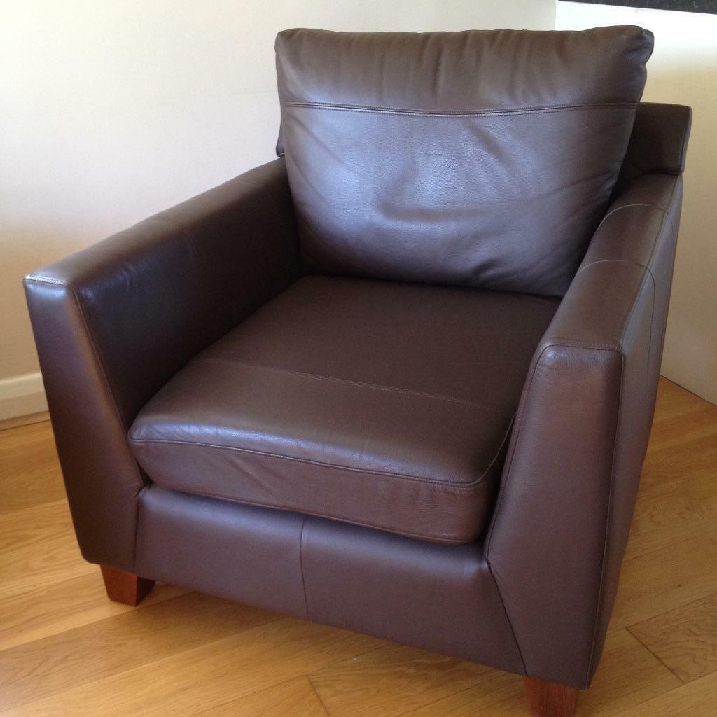 Brown Real Leather Armchair From Marks Amp Spencer In