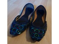 Indian-style sequinned pumps, UK size 5