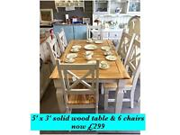 Solid wood Table & 6 chairs shabby chic REDUCED