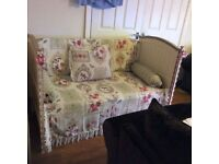 upcycled cot bed use as double seat in bedroom or as a sleep over seat come bed for girls room