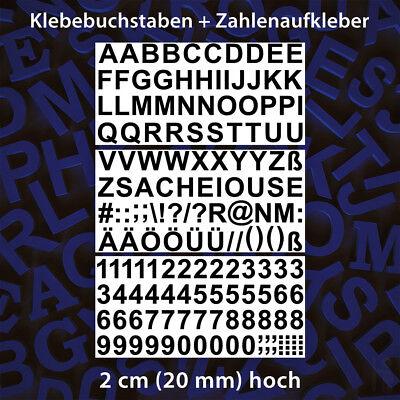 Buchstaben + Zahlen & Zeichen, 2 cm Hoch, Schwarz, Klebebuchstaben, Aufkleber