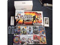 Nintendo Wii XMASBUNDLE *2x Controllers/Nunchucks, Steering Wheel, Guitar Hero Controller, 11 Games*