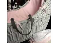 Grey crib with pink insert