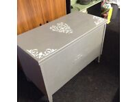 Beddng box toy box grey with shabby chic heart detail