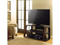 Bell'O Curved Wood, Metal and Glass TV Stand for TVs up to 55″ - new in sealed box