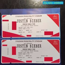 2x (Two) Justin Bieber Tickets - Cardiff Principality Stadium - 30 June 2017 L29