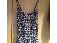 Navy/pink ladies smart, summer jumpsuit Next petite size 10-12