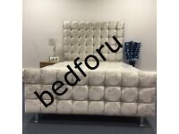 Cube Diamond high head board crush velvet double bed with orthopedic or memory foam mattress.