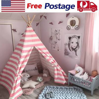 Large Pink Princess Girl Teepee Cotton Canvas Kids Play Tent Toy Indoor Outdoor - Girl Teepee