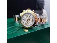 New boxed & bagged two tone strap white face rolex daytona