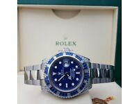New silver bracelet with blue dial blue diamond bezel Rolex Submariner with automatic sweeping