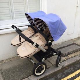 REDUCED £650 Bugaboo Donkey Twin £750 o.n.o - Inc. Footmuffs, parasols, car seat adaptor, raincovers