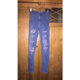 Topshop blue ripped Joni jeans