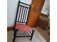 Antique Ball-Turned High Back Nursing Chair