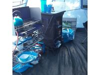 Blue 4 man tent and camping gear