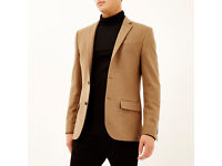 Men's Camel Brown Wool-blend Blazer (Brand New)
