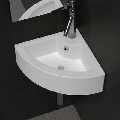 Corner Sink -  Ceramic Basin Corner Sink Basin Faucet Overflow Hole Modern Bathroom Toilet UK