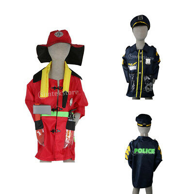 Kids Police Man Officer & Fireman Costume Outfit Accessories