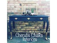 Console table sideboard painted in Fusion Mineral Paint midnight blue