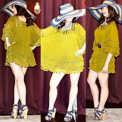 Vintage Retro 60s 70s olive green semi sheer boho hippie cotton gauze dress