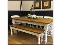 NEW STUNNING SOLID 6FT HANDMADE PINE FARMHOUSE TABLE BENCH AND CHAIRS