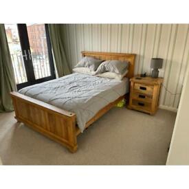 Hardwood bed frame & drawers