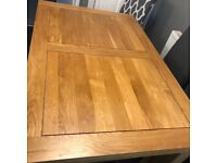 Solid wood extending dining table and x4 chairs
