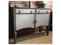 Unique Vintage Shabby Chic Sideboard Buffet Cabinet Hand Painted