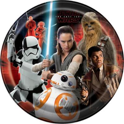 Star Wars The Last Jedi Lunch Plates 8 Per Package Birthday Party Supplies New - Star Wars Party Plates