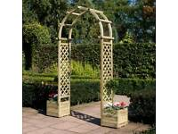 Round top arch with planters arbour