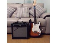 squier fender with mustang amp